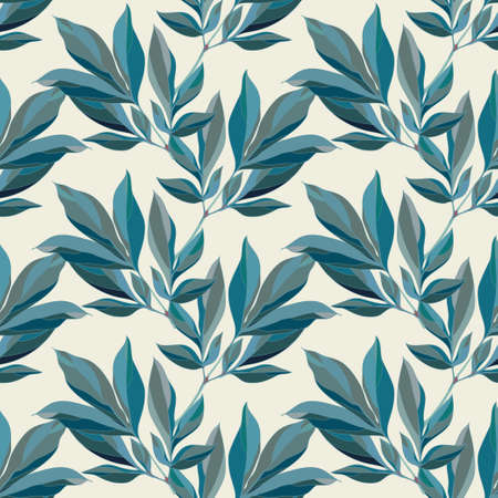 Seamless floral pattern with decorative leaves. Vector illustration.