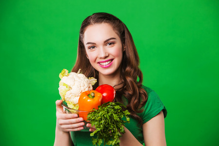 food woman: young woman with healthy food. woman on a diet