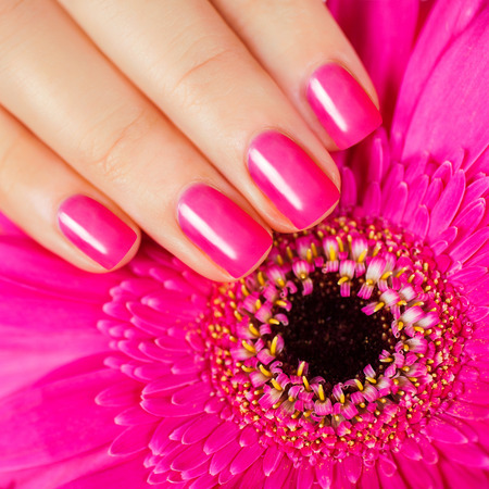 nail art: Beautiful manicure  Pink manicure with delicate flower Stock Photo