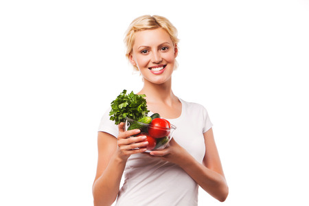 food woman: happy woman eating healthy food  woman on a diet