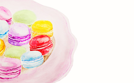 france painted: Dessert macaroons on a plate watercolor painting isolated. Watercolor background Stock Photo