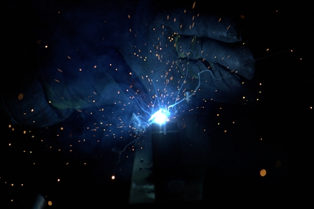 Welding steel with sparks