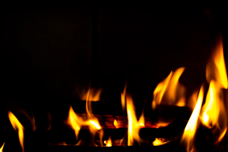 Fire in the fireplace