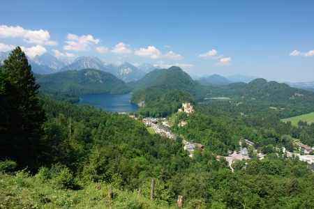 Neuschwanstein, view of the Alpsee and Hohenschwangau photo
