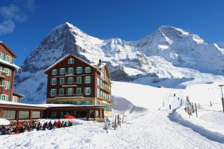 jungfraujoch: Winter in the Kleine Scheidegg, Swiss Alps  Stock Photo