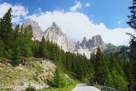 croci: Alpine Tre Croci pass in the Dolomites, Italian Alps