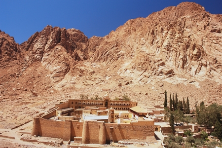 sinai: View of St  Catherine s Monastery and Mount Sinai, Egypt Stock Photo