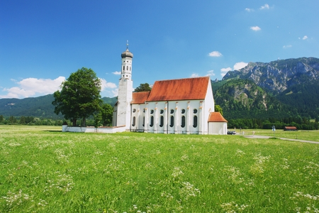 allgau: View of the church St Coloman in Bavarian Alps, Germany