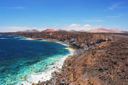los hervideros: Los Hervideros, view of volcanic coastline, Lanzarote