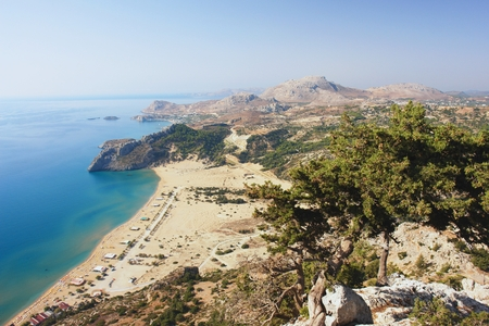 tsambika: View of the countryside and the coast of Rhodes Stock Photo