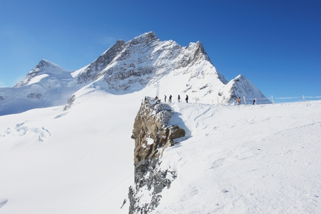 jungfraujoch: View of the Jungfrau and the Aletsch Glacier, Swiss Alps