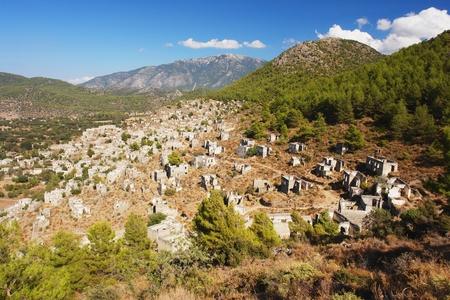 kayakoy: Panoramic view of the ruins in Kayakoy, Turkey