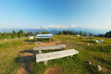 seating area: Seating area on Villach Alpine Road, Carinthia, Austria Stock Photo