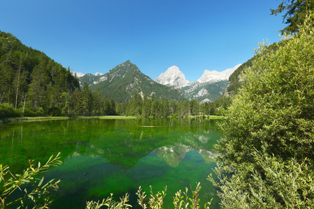 upper austria: Green alpine lake in Hinterstoder, Upper Austria