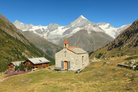 valais: View of the Taschalp Chapel, Valais, Switzerland