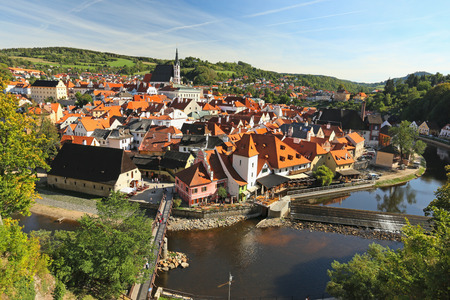krumlov: Panorama of the old town of Cesky Krumlov, Czech Republic