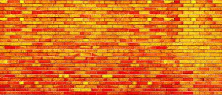 Red orange yellow  bricks wall panorama background