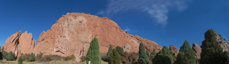 rock formation: Rock formation panorama with blue sky  Garden of the Gods in Colorado Springs. National Natural Landmark