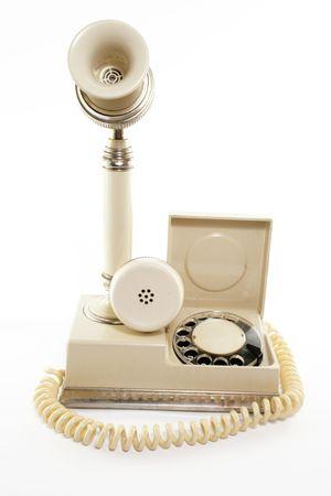 Retro phone on the white background