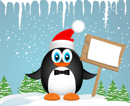 Christmas card. Funny penguins photo