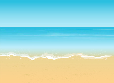 Seaside view with an umbrella, beach chair and a pair of flip-flops Summer vacation concept background