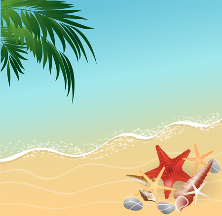 Seaside view with an umbrella, beach chair and a pair of flip-flops Summer vacation concept background. Illustration