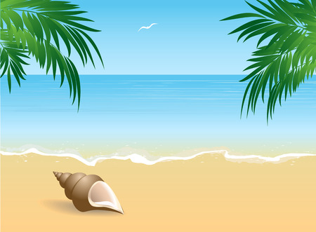 coast: Seaside view with an umbrella, beach chair and a pair of flip-flops Summer vacation concept background. Illustration