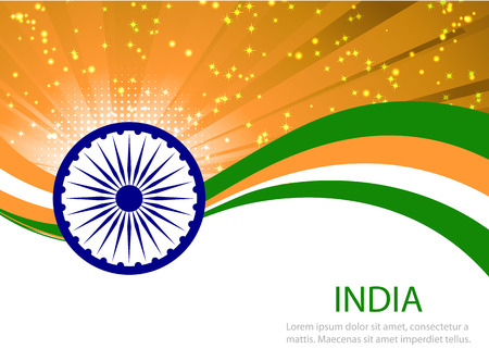 august: Indian Independence Day background with  wheel.flag democracy
