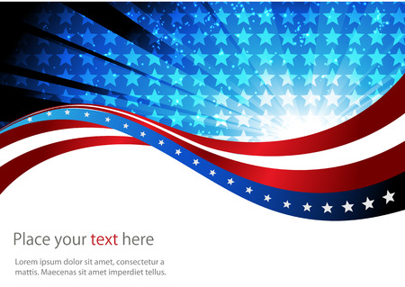 red wave: abstract background of the American flag,symbol united Illustration
