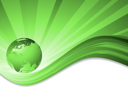 green lines: vector environmental background with globe and copy space. Eps10 Illustration