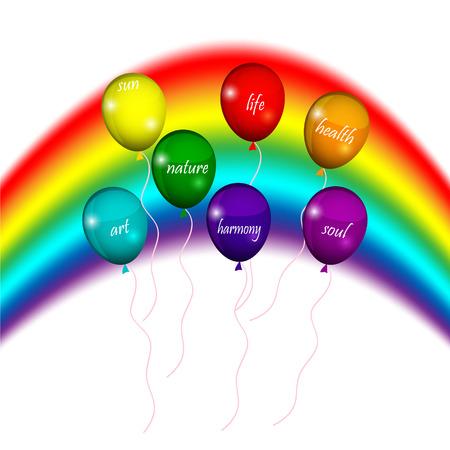 LGBT バルーン七色の虹  イラスト・ベクター素材