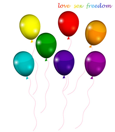 bisexuality: LGBT balloon colors of the rainbow