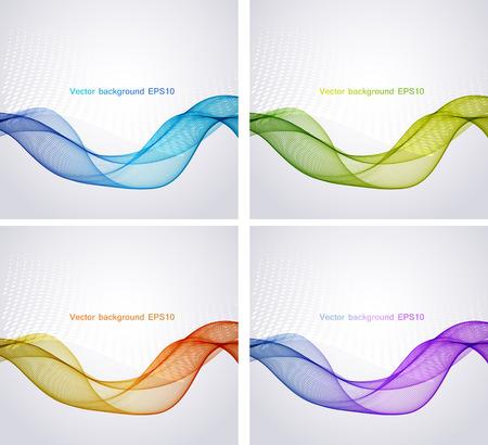 波、イラスト、ベクトルと抽象的なカラフルな背景  イラスト・ベクター素材