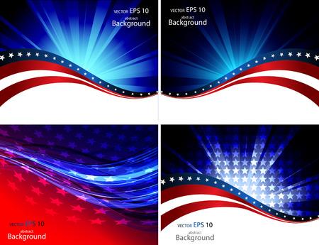 julio: Bandera americana, Vector de fondo para el Día de la Independencia y otros eventos. Ilustración
