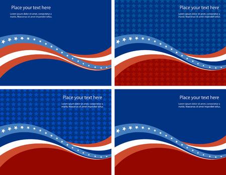 미국 국기, 독립 기념일 및 기타 이벤트에 대한 벡터 배경입니다. 그림