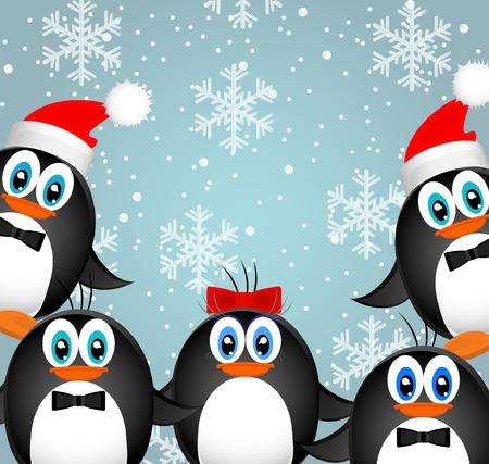 pinguino caricatura: Paisaje de Navidad feliz. Vector Feliz Navidad Feliz A�o Nuevo