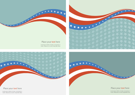 starr: Patriotic wave background Abstract image of the American flag Illustration