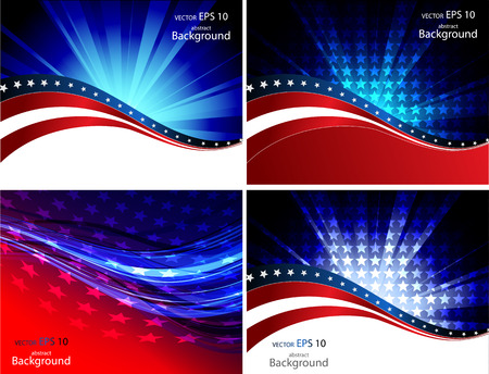 Patriotic wave background Abstract image of the American flag Çizim