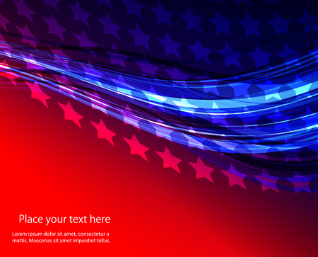 Patriotic wave background Abstract image of the American flag Illustration