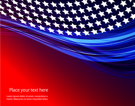Patriotic wave background Abstract image of the American flag 向量圖像