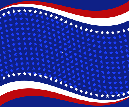 blue star: Patriotic wave background Abstract image of the American flag Illustration