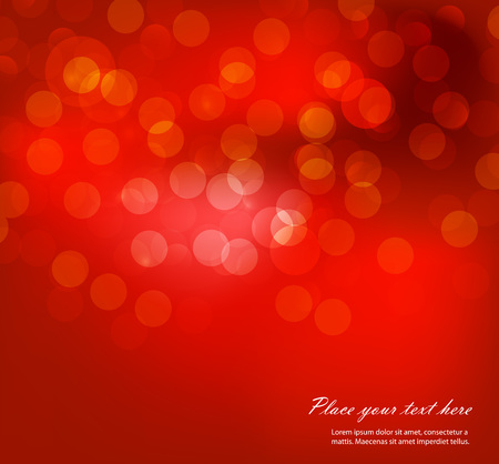 festivity: Christmas and New Year greeting card. Vector illustration. Blurred background. Snowy evening street with lights. Wallpaper. Illustration