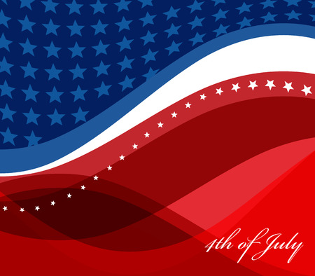 red america: HAPPY INDEPENDENCE DAY vector image of american flag Illustration