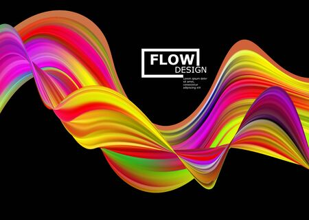 Modern abstract colorful stream poster. Wave Liquid Shape Art Design for your project.