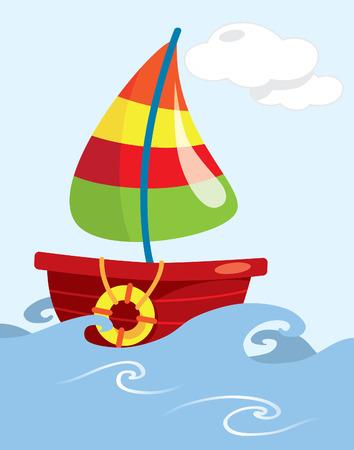 cartoon fishing: Cartoon fishing boat on open sea Illustration
