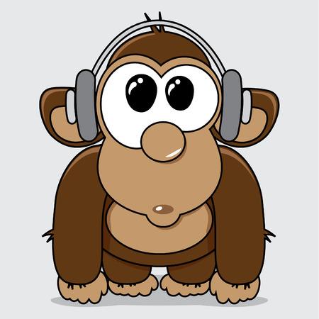 mono caricatura: Mono divertido de la historieta con los auriculares escuchando m�sica