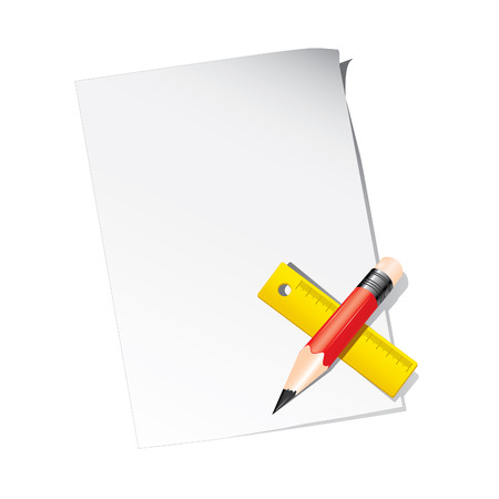 Red pencil with yellow ruler on a blank paper