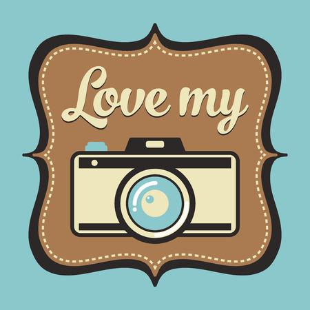страсть: Retro camera poster, passion for photography Иллюстрация