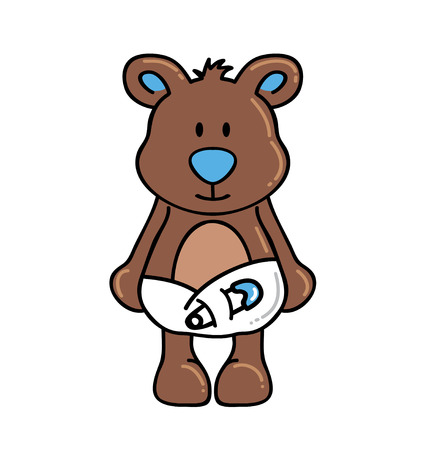 diapers: Boy bear wearing diapers Illustration
