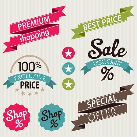 discount coupon: Set of stickers and ribbons, discount and sale badge concept